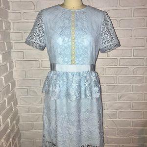 Ted Baker Dixa Layered Skater Peplum Dress  Size 8